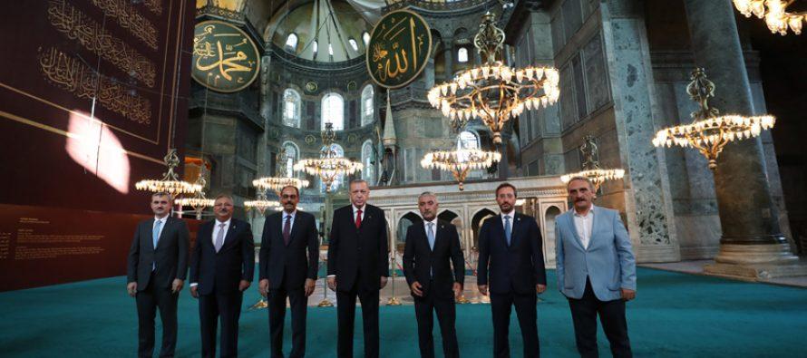 Cumhurbaşkanı Erdoğan, Ayasofya-i Kebir Cami-i Şerifi'nde incelemelerde bulundu