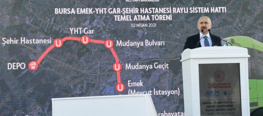 Dev yatırımlar | Bursa Emek-YHT Gar-Şehir Hastanesi metro hattının temeli atıldı