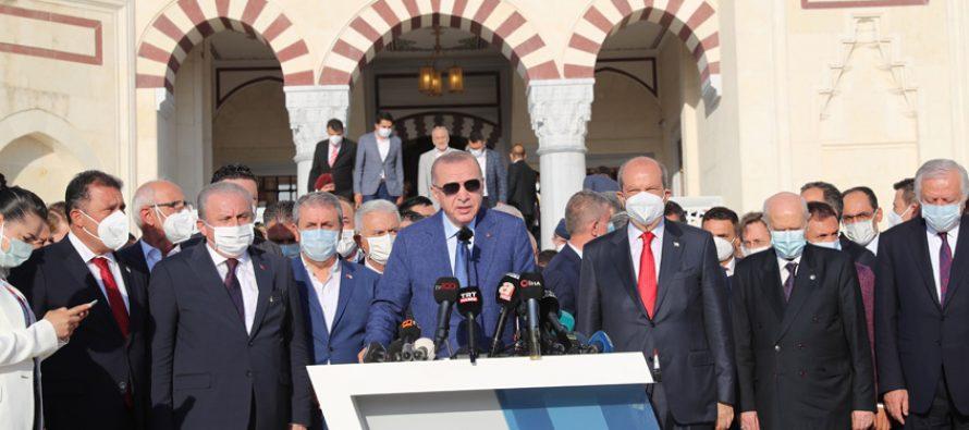 Cumhurbaşkanı Erdoğan, Kurban Bayramı Namazı'nı Lefkoşa Hala Sultan Camii'nde kıldı